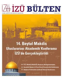 Nisan 2014 bülteni - İstanbul Sabahattin Zaim Üniversitesi