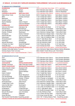 27 ARALIK - 02 OCAK 2015 MÜSABAKA PROGRAMI