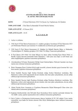 İl Genel Meclisinin 2014 Yılı Kasım Ay