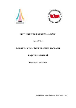 Başvuru Rehberi - Batı Akdeniz Kalkınma Ajansı
