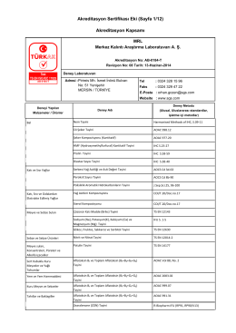 Akreditasyon Sertifikası Eki (Sayfa 1/12) Akreditasyon Kapsamı