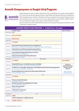 Asansör Sempozyumu ve Sergisi 2014 Programı