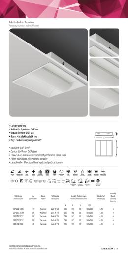 DKP sac • Reflektör: 0,40 mm DKP sac • Kapak