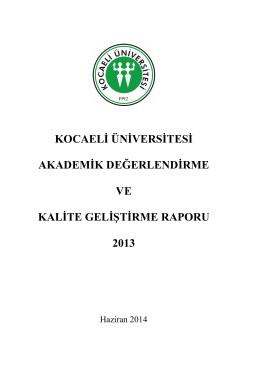 2013 ADEK RAPOR Son 17.06.2014 - Akademik Değerlendirme ve