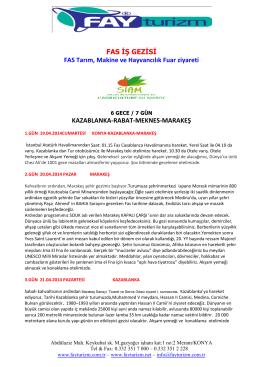 Fay Turizm-Fas İş Gezisi - Bafra Ticaret ve Sanayi Odası