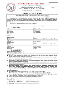 burs istek formu - İsviçre Türk Diyanet Vakfı