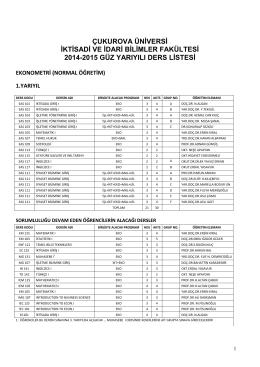 kayıt olunacak derslerin listesi - Çukurova Üniversitesi, İktisadi ve