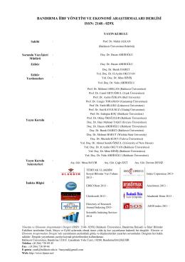 Editörden - Yönetim ve Ekonomi Araştırmaları Dergisi