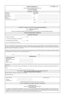 Kurumsal Yatırımcı Talep Formu (İskontolu Tahvil)