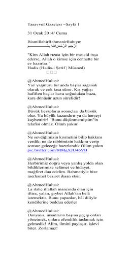 Tasavvuf Gazetesi ~Sayfa 1 31 Ocak 2014/ Cuma