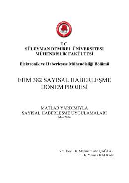 ehm 382 sayısal haberleşme dönem projesi