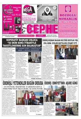21.11.2014 Tarihli Cephe Gazetesi