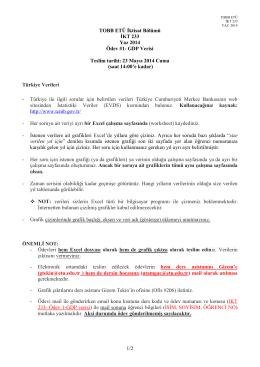 1/2 TOBB ETÜ İktisat Bölümü İKT 233 Yaz 2014 Ödev #1