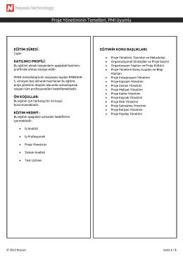 Proje Yönetiminin Temelleri, PMI Uyumlu