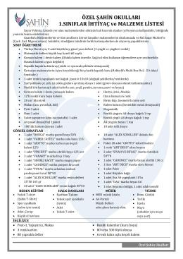 1.Sınıflar İhtiyaç Listeleri