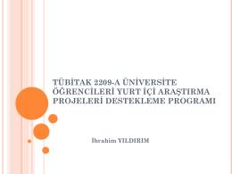 tübitak 2209-a üniversite öğrencileri yurt içi araştırma projeleri