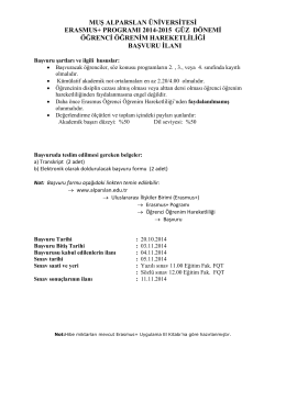 Erasmus+ Programı 2014-2015 Güz Dönemi Öğrenci Öğrenim