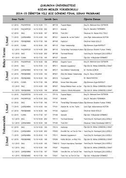 2014-2015 Güz Yarı Yılı Final Programı (Pdf Formatında)