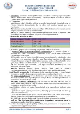 Branş Açıklamaları - Türkiye Masa Tenisi Federasyonu
