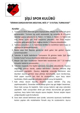 """ŞİŞLİ SPOR KULÜBÜ """"DİKRAN SARGAVAKYAN ARZUYAN, REİS 3"""