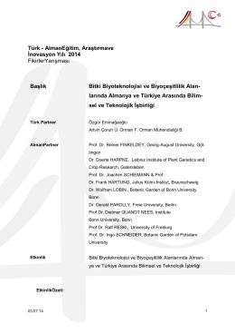Bitki Biyoteknolojisi ve Biyoçeşitlilik Alanlarında Almanya ve Türkiye