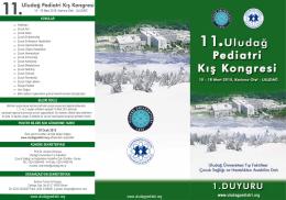 Pediatri 2015 1. Duyuru - 8. Uludağ Pediatri Kış Kongresi