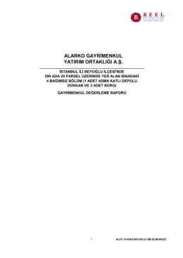 Alarko GYO A.Ş. Şişhane / İstanbul Değerleme Raporu
