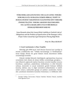 türk borçlar kanununda yer alan genel tehlike sorumluluğu