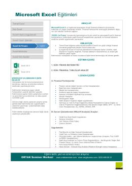Excel ile Finans - ORTAK Seminer Merkezi