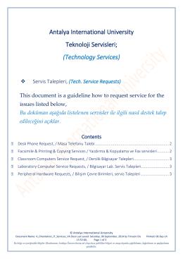 Tech. Service Requests - Uluslararası Antalya Üniversitesi