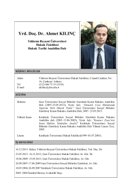 Yrd. Doç. Dr. Ahmet KILINÇ - Yıldırım Beyazıt Üniversitesi