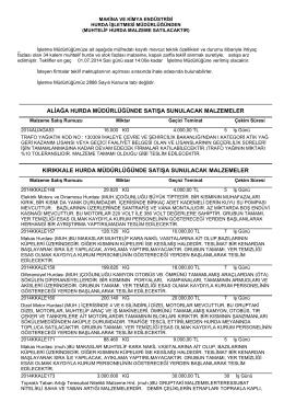 01.07.2014 Tarihli Hurda Malzeme İhale listesi