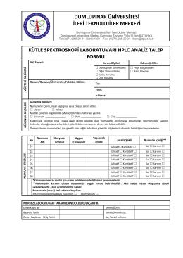 Kütle Spektroskopi Laboratuvarı HPLC Analiz Talep Formu