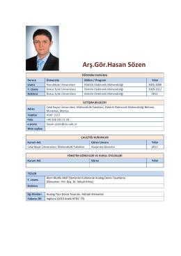 Arş.Gör.Hasan Sözen - Elektrik-Elektronik Mühendisliği Bölümü