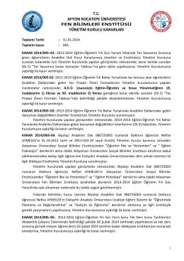 karar 2014/005 - Afyon Kocatepe Üniversitesi
