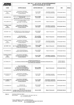 2014 ASTAŞ Eğitim Merkezi I.Altı Aylık Eğitim Prog. Takvimi