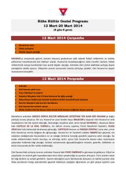 Küba Kültür Gezisi Programı 12 Mart