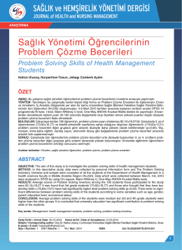 Sağlık Yönetimi Öğrencilerinin Problem Çözme