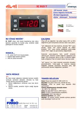 IC 915T TR - FRİGO SOĞUTMA SANAYİ ve TİCARET A.Ş.