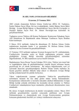 30. RİG TOPLANTISI BASIN BİLDİRİSİ Erzurum, 23 Temmuz 2014