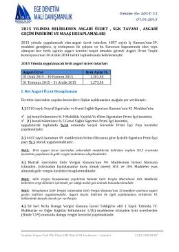 2015 yılı asgari ücret, sgk tavanı , asgari geçim indirimi ve maaş