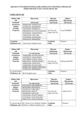 Okul Uygulamaları - Kafkas Üniversitesi