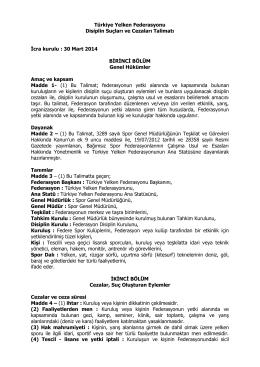 Türkiye Yelken Federasyonu Disiplin Suçları ve Cezaları Talimatı