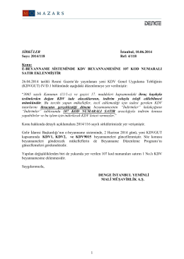E-BEYANNAME SİSTEMİNDE KDV BEYANNAMESİNE 107 KOD