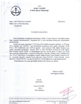 T.C. KARS VAIIIJGI II Mull Eitim Müdürlüü Sayi :45877750/310.01