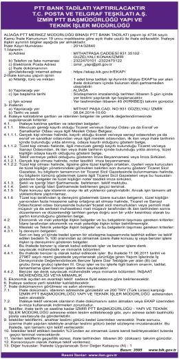 ptt bank tadilatı yaptırılacaktır tc posta ve telgraf teşkilatı a.ş. izmir ptt