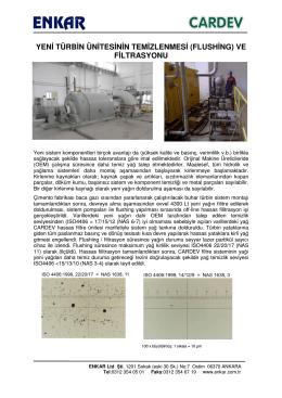 yeni türbin ünitesinin temizlenmesi (flushing) ve