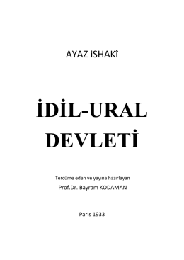 İDİL-URAL DEVLETİ - Prof.Dr. Bayram Kodaman