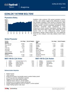piyasalara bakış - Yapı Kredi Yatırım