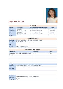 Lect.Safiye Ipek Ayvaz - Celal Bayar Üniversitesi